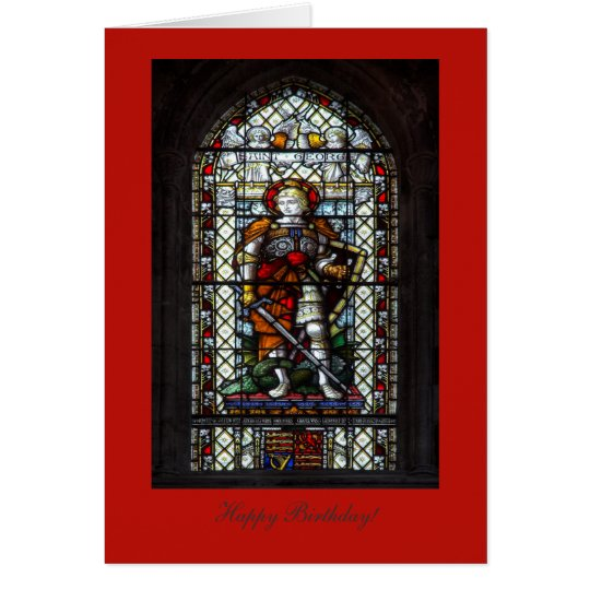 Tarjeta Vitral de San Jorge - feliz cumpleaños