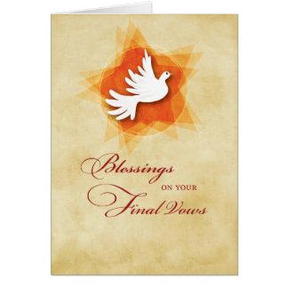 Tarjeta Votos solemnes finales, bendiciones de la monja,