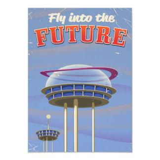 Tarjeta Vuele en el poster futuro de la ciencia ficción