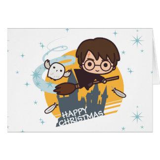 Tarjeta Vuelo de Harry y de Hedwig más allá del navidad de