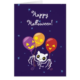Tarjeta Vuelo esquelético del palo de Halloween con los