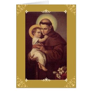 Tarjeta w/prayer del saludo/de nota de St Anthony