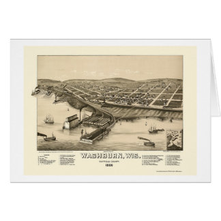 Tarjeta Washburn, mapa panorámico de los WI - 1886