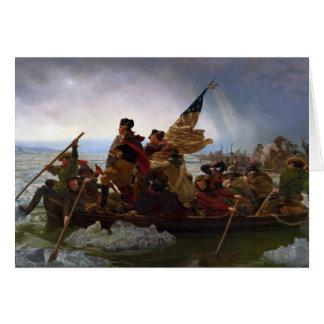 Tarjeta Washington que cruza el Delaware de Manuel Leutze
