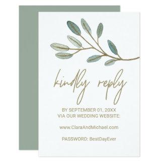 Tarjeta Web site veteado oro RSVP del boda del eucalipto