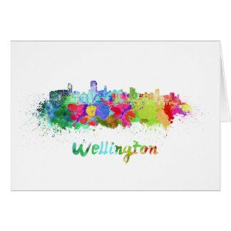 Tarjeta Wellington skyline in watercolor