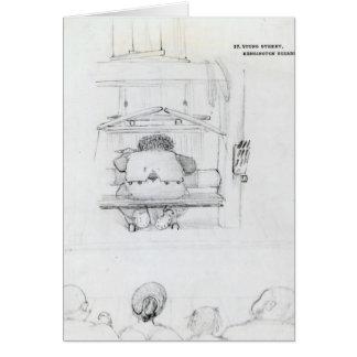 Tarjeta William Morris en su telar, caricatura