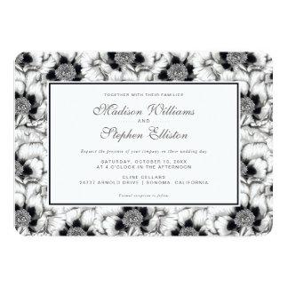 Tarjeta Y blanca floral dibujada mano negra - boda