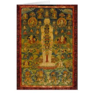 Tarjeta Yoga tibetana Thangka del hombre cósmico