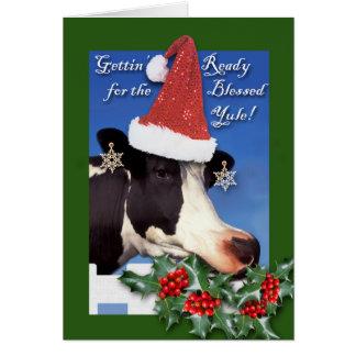 Tarjeta Yule bendecido, solsticio de invierno, vaca en el