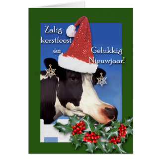 Tarjeta Zalig más kerstfeest, vaca de Holstein con el