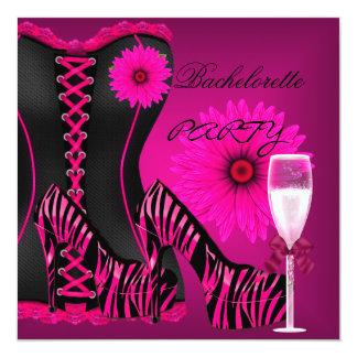 Tarjeta Zapatos del rosa del negro de la cebra del corsé