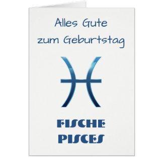 Tarjeta Zodiaco Geburtstag de Blau Fische Piscis