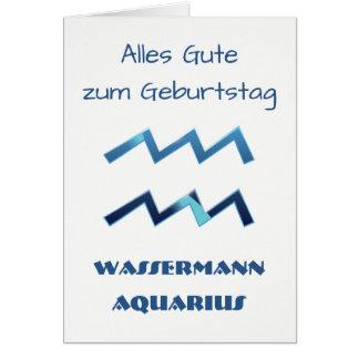 Tarjeta Zodiaco Geburtstag del acuario de Blau Wassermann