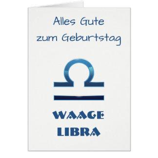 Tarjeta Zodiaco Geburtstag del libra de Blau Waage