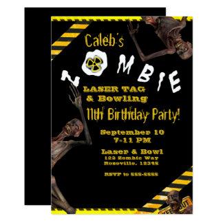Tarjeta Zombis amarillos y fiesta de cumpleaños negra