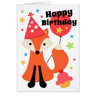 Tarjeta Zorro lindo con cumpleaños de la estrella de la