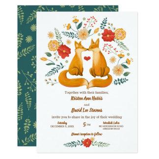 Tarjeta Zorros románticos y boda floral rústico del