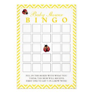 Tarjetas amarillas del bingo de la fiesta de bienv invitaciones personalizada