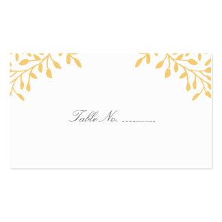 Tarjetas amarillas del lugar del boda del jardín tarjetas de visita