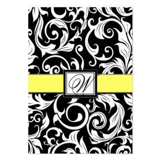 Tarjetas amarillas y negras de la recepción tarjetas de visita grandes