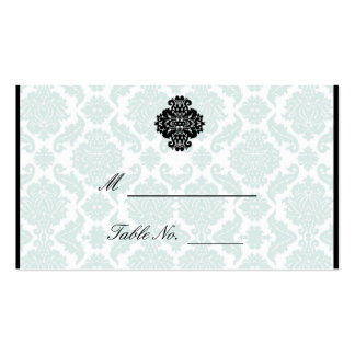 Tarjetas azules claras y negras del lugar del boda tarjetas personales