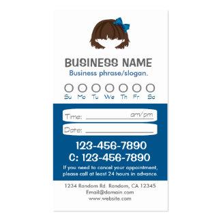 Tarjetas azules de encargo de la cita del pelo tarjetas de visita