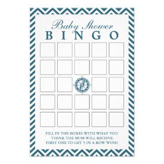 Tarjetas azules del bingo de la fiesta de bienveni comunicado personalizado