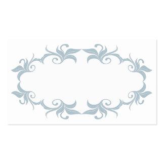 Tarjetas azules del lugar del boda del Flourish de Tarjetas De Visita