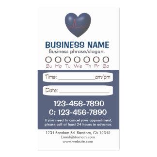 Tarjetas azules médicas de la cita del corazón tarjetas de visita