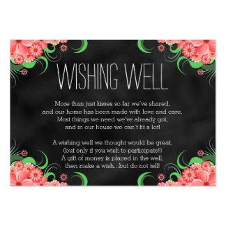 Tarjetas bien que desean florales del rosa negro tarjetas de visita grandes