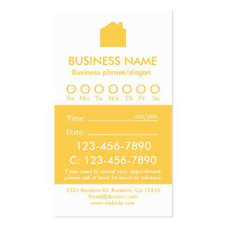 Tarjetas blancas amarillas de encargo de la cita plantilla de tarjeta de negocio
