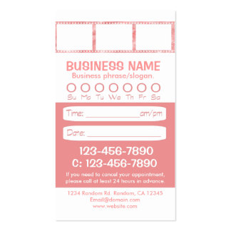 Tarjetas blancas rosadas de encargo de la cita de tarjetas de visita