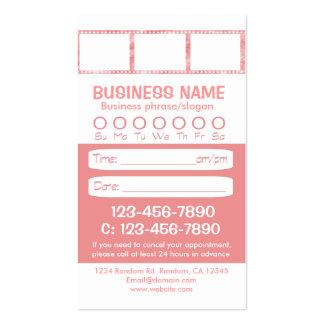 Tarjetas blancas rosadas de encargo de la cita de tarjeta de visita
