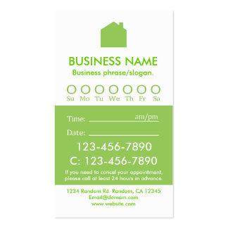 Tarjetas blancas verdes de encargo de la cita de tarjetas de visita