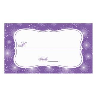Tarjetas blancas violetas del lugar de los tarjetas de visita
