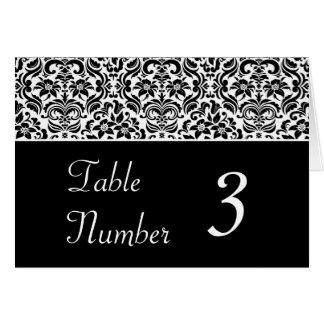 Tarjetas blancos y negros de la tabla del boda del