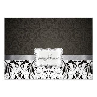 Tarjetas blancos y negros elegantes de RSVP del da Anuncio
