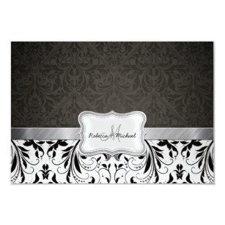 Tarjetas blancos y negros elegantes de RSVP del Anuncio