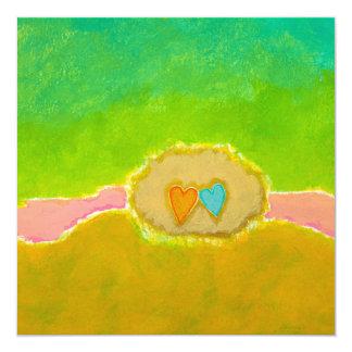 Tarjetas bonitas del cuadrado del amor del verano invitación 13,3 cm x 13,3cm