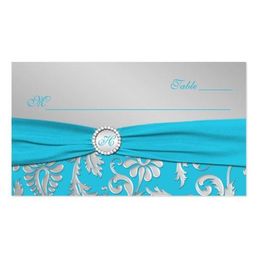 Tarjetas cones monograma del lugar de la turquesa  plantillas de tarjeta de negocio