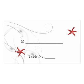 Tarjetas coralinas del lugar del boda de la plata tarjetas de visita