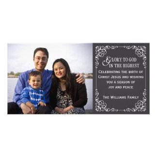 Tarjetas cristianas de la foto del navidad de la p tarjeta fotografica