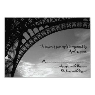Tarjetas de contestación de la torre Eiffel Invitación 8,9 X 12,7 Cm