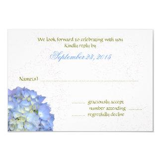 Tarjetas de contestación del boda del Hydrangea
