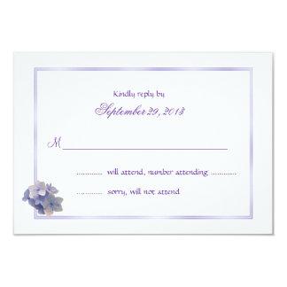 Tarjetas de contestación del boda del Hydrangea de