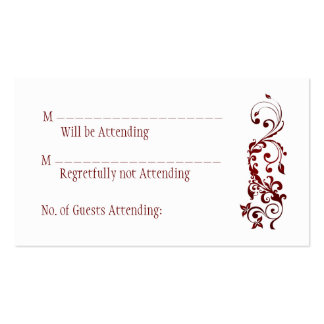 Tarjetas de contestación rojas de la mariposa plantilla de tarjeta personal