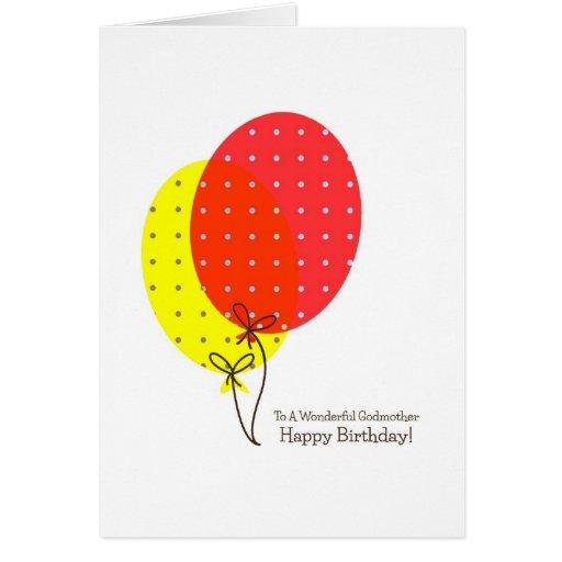 Tarjetas de cumpleaños de la madrina, globos color