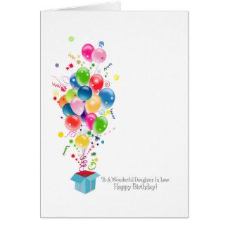 Tarjetas de cumpleaños de la nuera globos colorid