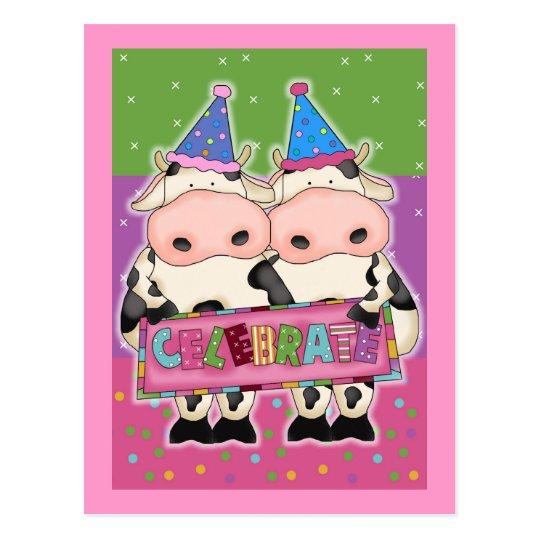 Tarjetas de cumpleaños de la vaca y sellos postal